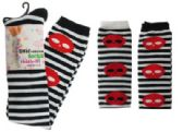 48 Units of Black and white striped thigh high socks with red skull design