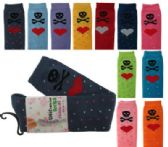 48 Units of Assorted colored thigh high socks with skulls and heart designs