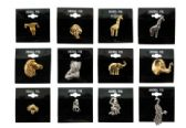 72 Units of Assorted styles gold-tone and silver-tone animal tac pins