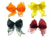 72 Units of Assorted color nylon, bow style hair barrette - Barrett