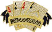 36 Units of Golden Cards Belt Buckle