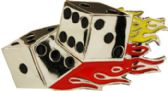 24 Units of Dice With Flames Belt Buckle