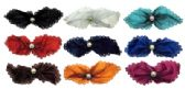 72 Units of assorted color fabric bow style hair barrette