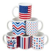 108 Units of Mug Stoneware Patriotic Designs - New Years