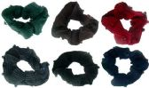 72 Units of Assorted color ribbed sateen scrunchies with beads
