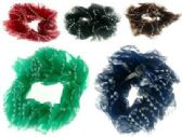 72 Units of Assorted color nylon scrunchies with triangle pattern