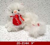 """48 Units of 8"""" WHITE LYING CAT WITH I LOVE YOU HEART - Plush Toys"""