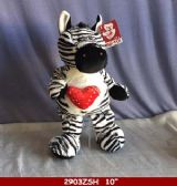 "24 Units of 10"" SOFT ZEBRA WITH HEART - Plush Toys"