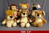 """24 Units of 8.5"""" PLUSH JUNGLE ANIMAL SET - Plush Toys"""
