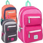 24 Units of 18 Inch Double Pocket Backpack - Girls