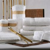 12 Units of Bamboo Cotton Luxury Bath Towel in White 27 x 56