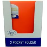 48 Units of 2 Pocket poly folder, no holes, orange, in display - Folders and Report Covers