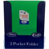 48 Units of 2 Pocket poly folder, no holes, matt/shinny, green, in display - Folders and Report Covers