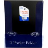 48 Units of 2 Pocket poly folder, no holes, matt/shinny, black, in display - Folders and Report Covers