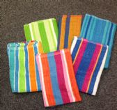 24 Units of Jacquard Stripe Beach Towels 5 Assorted Colors 30 x 60 - Beach Towels