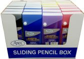 96 Units of Pencil Box, Sliding, Asst. Colors (2 displays of 24) - Pencil Boxes & Pouches