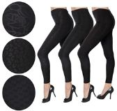 36 Units of Women's Black Embossed Leggings Set in Assorted Prints