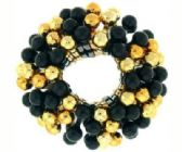 72 Units of goldtone and black beaded scrunchies