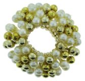 72 Units of goldtone and faux pearl beaded scrunchies
