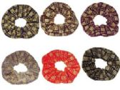 "72 Units of assorted color velvet scrunchies, with gold embroidered ""Good Luck"""