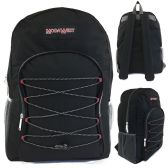 "24 Units of 19"" Bungee Design Backpack In Black"