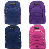 "24 Units of 19"" Bungee Design Backpack In 4 Assorted Colors"