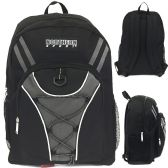 "24 Units of 19"" Bungee Design Backpack In Solid Black Colo"