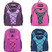 "24 Units of Girls 19"" Bungee Design Backpack In 4 Assorted Colors"