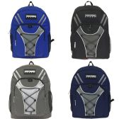 "24 Units of 19"" Bungee Design Backpack 4 Assorted Colors"