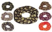 """72 Units of assorted color velvet Hair Scrunchies with gold embroidered """"Love"""" - Hair Scrunchies"""