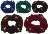 72 Units of Assorted Color Velvet Scrunchies with gold and assorted color beads, - Hair Scrunchies