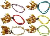 72 Units of Hair Scrunchies with beaded dangles, - Hair Scrunchies