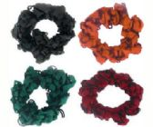 72 Units of Assorted multi-color nylon hair scrunchies - Hair Scrunchies
