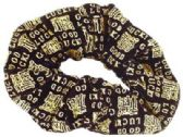 """72 Units of Black velvet Scrunchie with gold embroidered """"Good Luck"""" on them - Hair Scrunchies"""