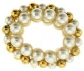 72 Units of goldtone and pearl look beaded scrunchie - Hair Scrunchies