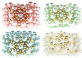 72 Units of assorted color pearl look and goldtone beaded scrunchie. - Hair Scrunchies
