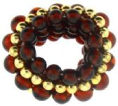 72 Units of goldtone and brown acrylic beaded\ scrunchie - Hair Scrunchies