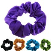 72 Units of Assorted color satin look scrunchies - Hair Scrunchies
