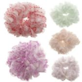 72 Units of Assorted pastel color nylon print hair scrunchies. - Hair Scrunchies