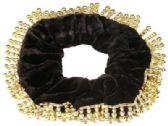 72 Units of Black velvet, hair scrunchies with gold bead trim - Hair Scrunchies