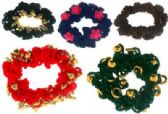 72 Units of Assorted color crochet look scrunchies with beads - Hair Scrunchies