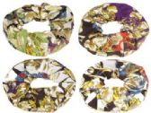 72 Units of Assorted prints scrunchies with gold tone lame - Hair Scrunchies