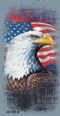 "24 Units of Cotton Printed Fiber Reactive Beach Towel 30"" x 60"" American Flag With Eagle - Beach Towels"