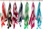 12 Units of Rugby Striped Beach Towels 35 x 60 Orange