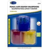 48 Units of Pencil & Crayon Sharpener, 3 Pk., Asst. Colors - Sharpeners