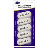24 Units of Oval Shaped Erasers 5 Count - White - Erasers