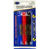 48 Units of Permanent markers, double tip: chisel & bullet, 3 pk., blue, black & red ink - Markers and Highlighters