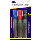 48 Units of Jumbo Permanent markers, wider chisel tip, 3 pk., black, blue & red ink - Markers and Highlighters