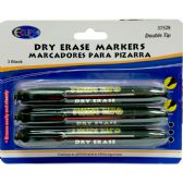 48 Units of Whiteboard markers, double tip: chisel & bullet, 3 pk., black ink - Markers and Highlighters