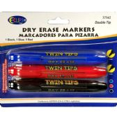 48 Units of Whiteboard markers, double tip: chisel & bullet, 3 pk., black, blue & red ink - Markers and Highlighters